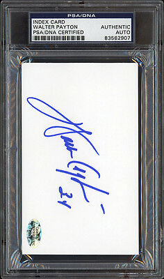 "WALTER PAYTON AUTOGRAPHED 3""×5"" INDEX CARD (BEARS HOFer AUTO) PSA/DNA CERTIFIED"