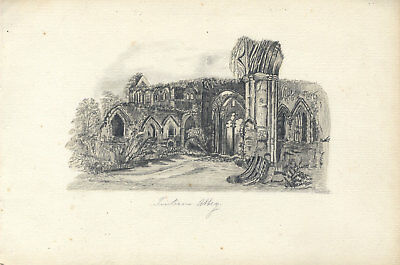 19th Century Album with Graphite Drawings of English Castles and Church Ruins