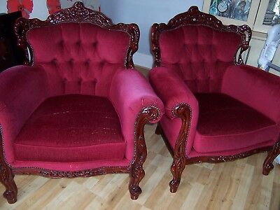 Pair Of Red Dralon Armchairs - perfect for those Winter months by the fireside.