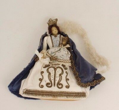 French Antique Religious Madonna And Child Wax Doll Reliquary For Repair