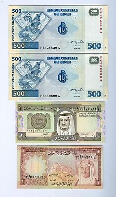 Middle-East & Africa Notes:2x 500 Frs Unc Congo;2x1 Rial UNC+VF-30.Est:$20