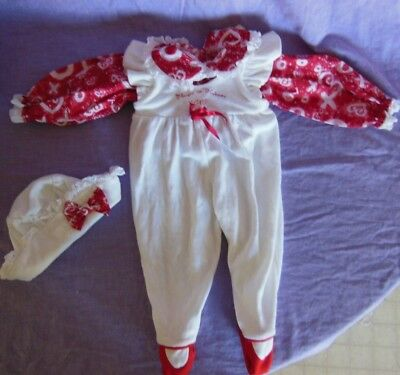 "Lee Middleton Doll Clothes Red Hearts Shirt Jumper & Hat Hugs Kisses 20"" - 21"""