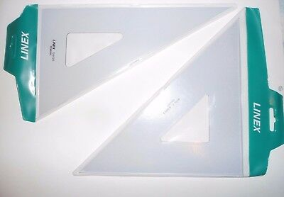 2 x Linex Large Bevelled Edge Transparent Set Squares in cover, 45 & 60 degree