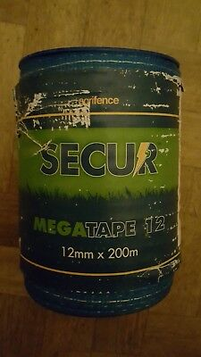 Agrifence Secur electric fence tape megatape 12mm x 200 Blue new