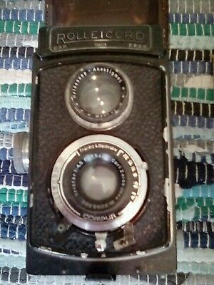 Antique Twin Lens Camera,Germany, ROLLEICORD with leather case
