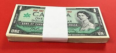 Canada 1867 - 1967 $1 Bundle 100 Notes NO SERIAL NUMBER All Choice Uncirculated