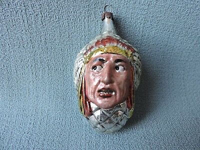 Antique German Glass Christmas Ornament NATIVE CHIEF 1940's