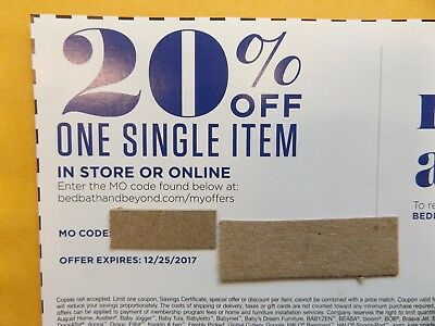 Bed Bath Beyond Coupon 20% Off One Single Item In Store or Online Valid in US
