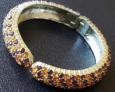 Vintage Hinged Bangle Bracelet Brown Yellow Crystal Rhinestone Stripe Autumn X72