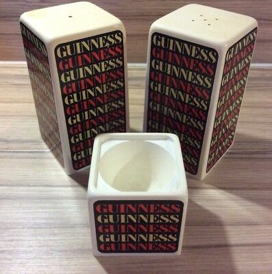 Vintage Retro 1960's Guinness 3-Piece Cruet Set