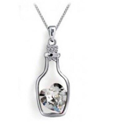 8 x Pieces Of Crystal Heart In A Bottle Necklaces Wholesale Joblot Jewellery _:)
