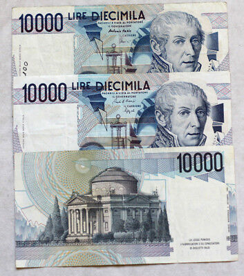 3x10.000 Lire, Bank of Italy, 1984.