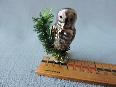 Antique German Glass Christmas Ornament OWL ON A BRANCH ** 1940's **