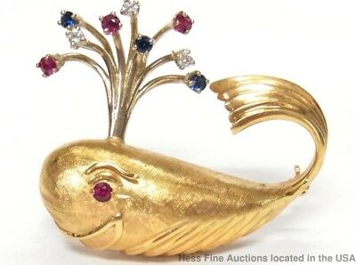 Heavy 14k Gold Diamond Ruby Sapphire Whale Pin Happy Spout Vintage Brooch
