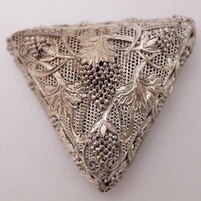 Antique Chinese Silver Filigree Grape Vine Dress Clip Or Pendant