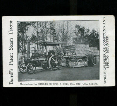 Burrells Steam Tractor Advertising Postcard C & G Yeoman Canterbury