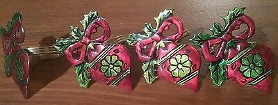 Christmas Napkin Rings Tree Ornament Motif Set of 4 Gorgeous Red Green