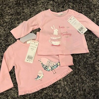 2x Girls Long Sleeve Tshirts Pink, Up To 3 Months, Brand New With Tag