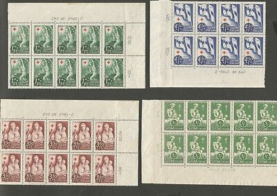 4 Part Sheets Of Suomi Stamps Mint 1945