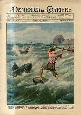 1933 Shark attack on beach of Cres Island Croatia brave boy killed monster Print