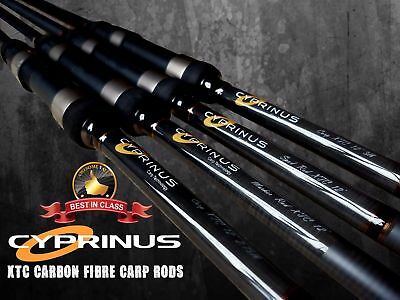BRAND NEW Cyprinus XTC Graphite Carp Fishing Rods 12' 2.75lb Set Of 3 RRP £300