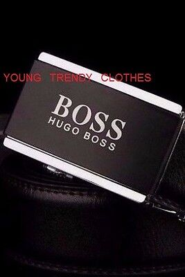 """BRAND NEW HUGO BOSS LEATHER BELT AUTO BUCKLE BLACK/SILVER(Fits up to 41"""" waist )"""