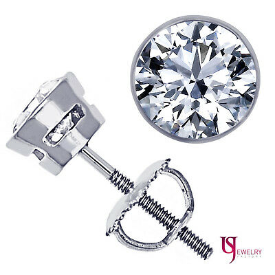 0.62 Carat F/G-VS Round Cut Diamond Stud Earrings Bezel Set 14k White Gold