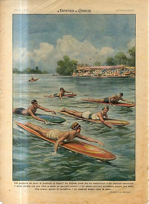1939 USA Surfing American students to swim on special surfboard Antique Print