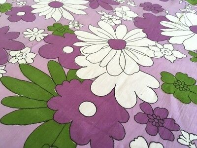Retro Vintage 1960s Purple & Green Crisp 100% Cotton Sheet 240 x 150cm FABRIC