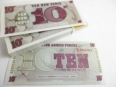 100 British Armed Forces Bank Notes 10 Pence Crisp Uncirculated