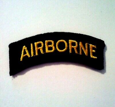 Airborne Tab Sewn on Gold on Black