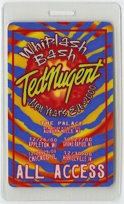 Ted Nugent authentic 2000 Laminated Backstage Pass Whiplash Bash New Year's Eve