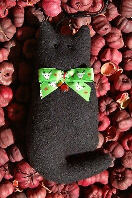 Primitive Christmas Black Wool Cat w Reindeer Bow Ornament, Ornie