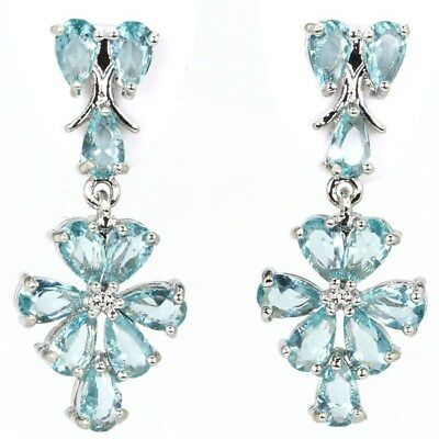 Beautiful Sky Blue Topaz SheCrown Party Silver Earrings