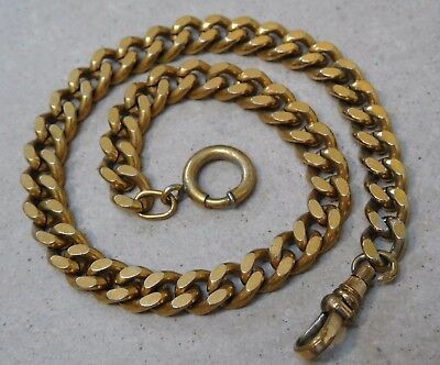 Antique Hardy Curb Link Gold Filled Pocket Watch Fob Chain #471R