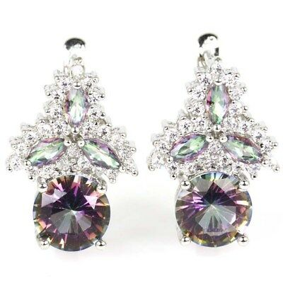 Dazzling Fire Rainbow Mystical Topaz, CZ SheCrown Wedding Silver Earrings