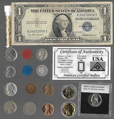 Silver Dollar Mercury Barber Indian Liberty US Rare Old Coin Collection Lot Gold