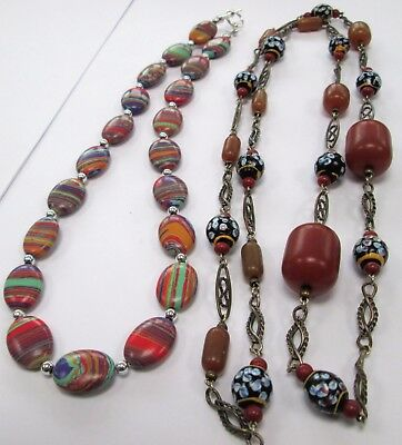 Stunning long vintage silver metal, faux amber & glass bead necklace + 1