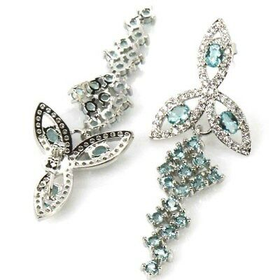 Gorgeous Rich Blue Aquamarine, CZ SheCrown Woman's Silver Earrings