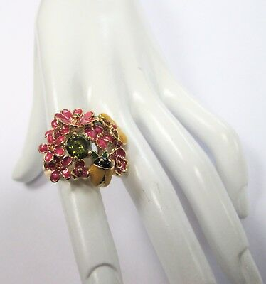 Stunning large vintage gold metal & enamel flowers & insects design ring