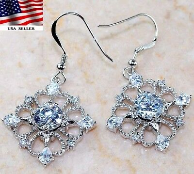 2CT White Sapphire 925 Solid Genuine Sterling Silver Earrings Jewelry
