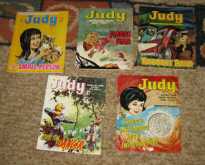 Judy Picture Library 5 Issues Nos 56-60 from 1967 and 1968 (Like Mandy and Bunty