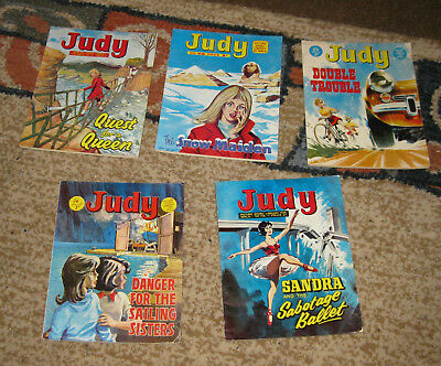 Judy Picture Library 5 Issues Nos 71-75 from 1969 (Like Mandy and Bunty)
