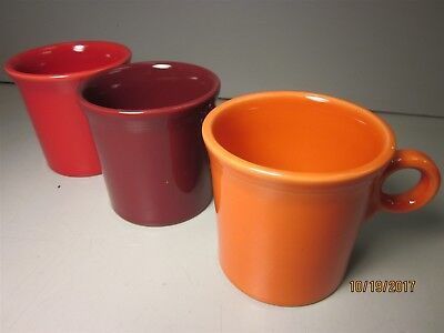 Lot (3) Fiesta Fiestaware Tom & Jerry Mugs Red Burgundy Orange