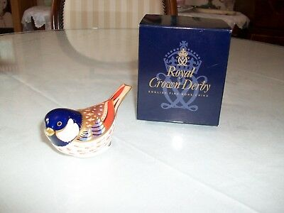 Royal Crown Derby Bird Paperweight Coal Tit, Gold Stopper, Boxed