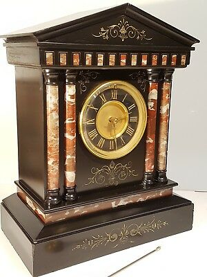 Town Hall Style  Marble Mantle Clock Rare Pull Out Winder To Dial Superb Quality