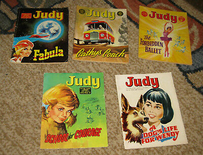 Judy Picture Library 5 Issues Nos 81-85 from 1970 (Like Mandy and Bunty)