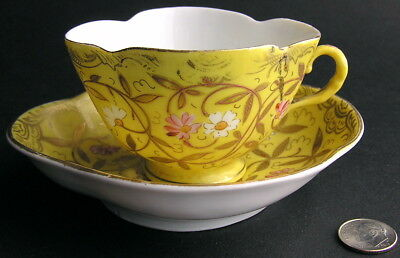 Old Austria Austrian Hand Painted Porcelain Demitasse Cup Saucer Beehive Mark