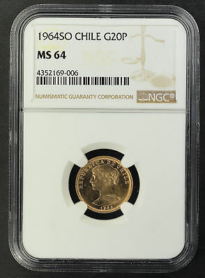 1964SO Chile Gold 20 Pesos NGC MS-64 -164580
