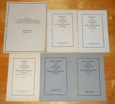 Chicago North Shore and Milwaukee Railroad RR Annual Report Lot of 6 1929- 1942